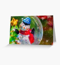 Christmas snowman in a snowglobe Greeting Card