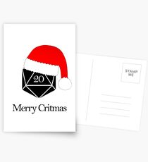 Merry Critmas Christmas Pun RPG Dice Dungeons and Dragons Postcards