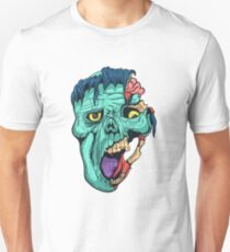 Hand Drawn Zombie Face with Brain T-Shirt