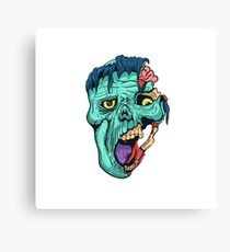 Hand Drawn Zombie Face with Brain Canvas Print