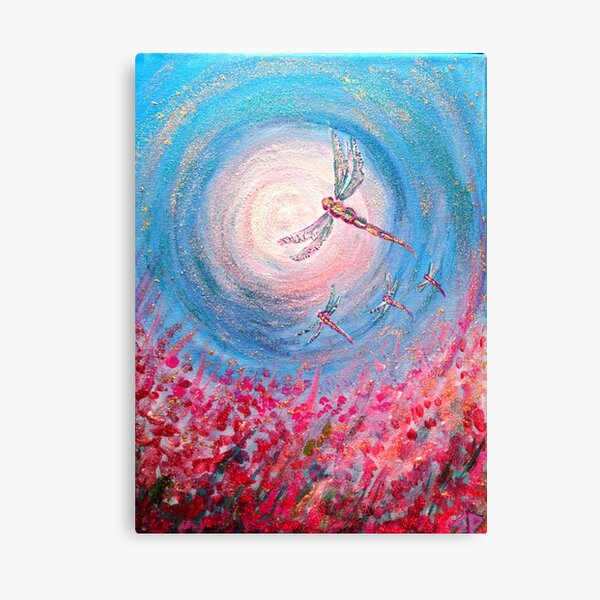 Pink Dragonfly Moon Canvas Print