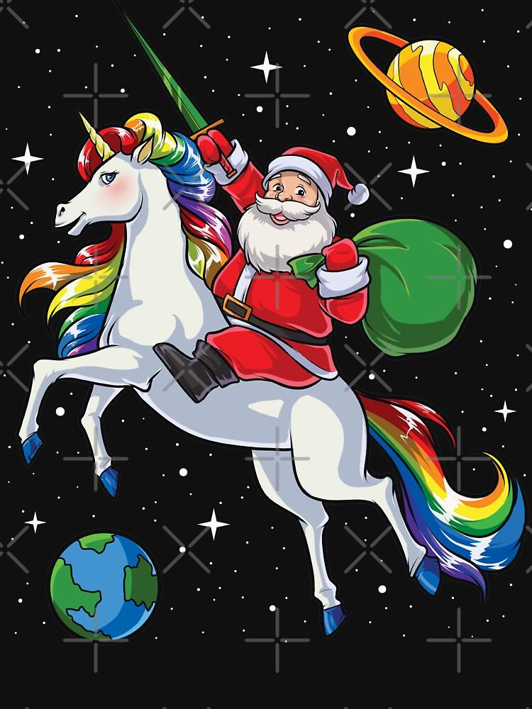 Sankt-ReitEinhorn-T-Shirt Weihnachtsgeschenk-Regenbogen-Raum von LiqueGifts