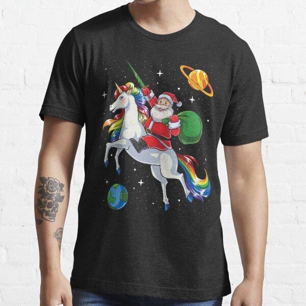 Santa Riding Unicorn T Shirt Christmas Gifts Rainbow Space Essential T-Shirt