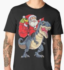 Santa Riding Dinosaur T rex T Shirt Christmas Gifts X-mas Men's Premium T-Shirt