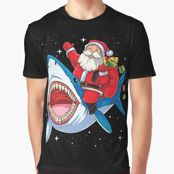 Santa Riding Shark T Shirt Christmas Gifts Galaxy Space Tees Graphic T-Shirt