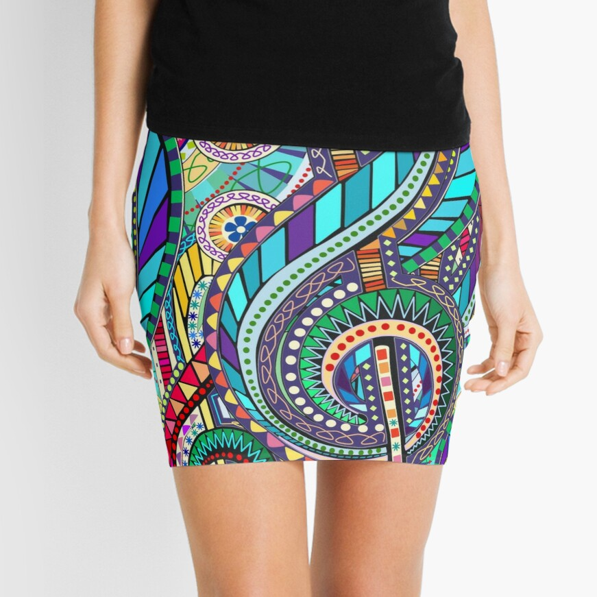 Music Carnival Design Mini Skirt