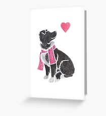 Watercolour Border Collie Greeting Card