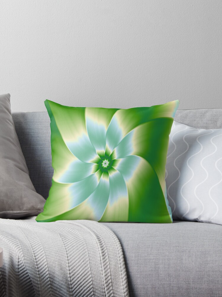 Pale Blue Green and White Flower by Objowl