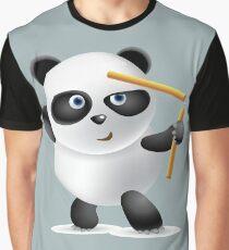 Cute Funny Humor Powerful Nunchaku Panda Graphic T-Shirt