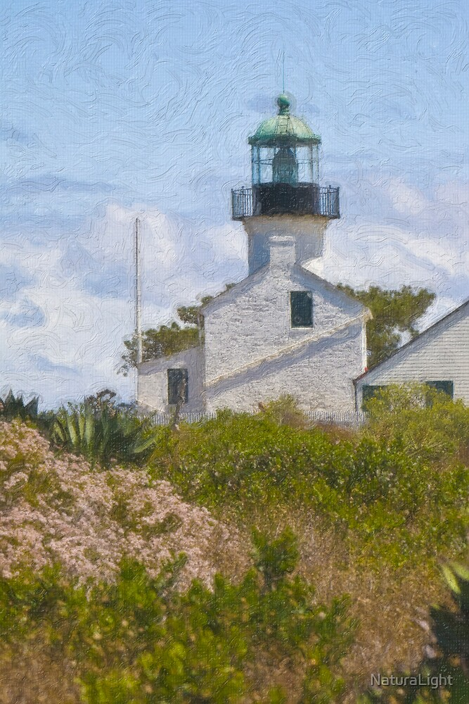 Stylized photo of the Old Point Loma lighthouse, San Diego, CA US. by NaturaLight
