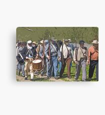 Stylized photo of Civil War re-enactor soldiers returning to camp after a battle. Canvas Print