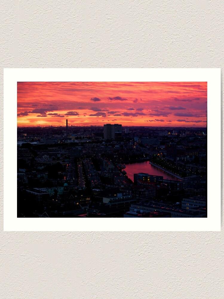 Alternate view of Rotterdam at Sunset, from Euromast Art Print