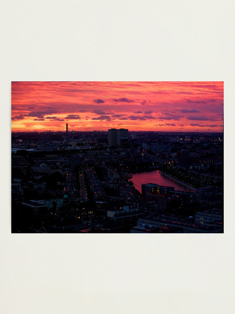 Alternate view of Rotterdam at Sunset, from Euromast Photographic Print