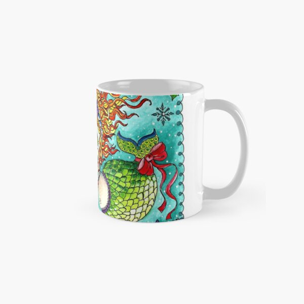 Chubby Mermaid and Seahorse Christmas Classic Mug