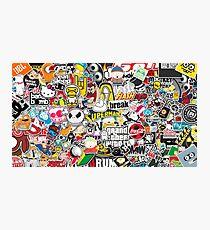 StickerBomb Random icons/logos/ Photographic Print
