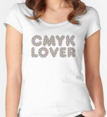 CMYK Rosette Pattern Women's Fitted Scoop T-Shirt