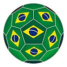 Soccer ball with Brazilian flag by siloto