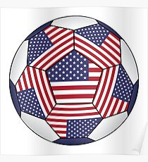Soccer ball with United States flag Poster