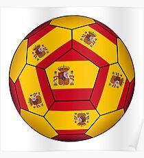 Football ball with Spanish flag Poster
