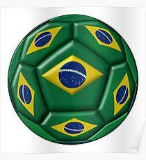 Ball with Brazilian flag Poster