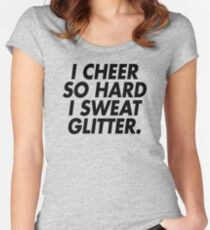 I Cheer So Hard I Sweat Glitter (black) Women's Fitted Scoop T-Shirt