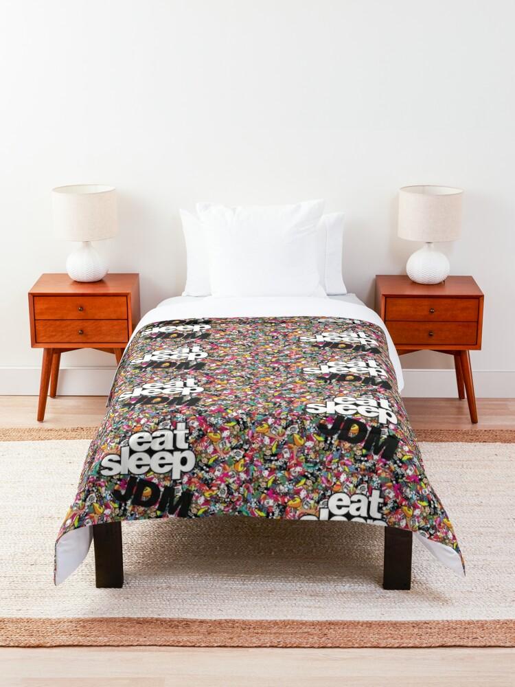 Alternate view of eat sleep jdm stickerbomb Comforter