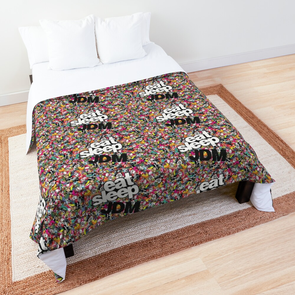 eat sleep jdm stickerbomb Comforter