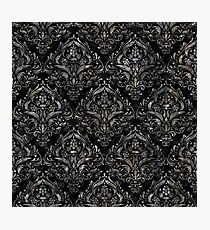 DAMASK1 BLACK MARBLE & GRAY STONE Photographic Print