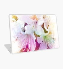 Beautiful color pencil sketch white azalea flowers. floral photo art. Laptop Skin