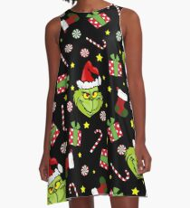 Grinch pattern A-Line Dress