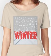 Winter scene with snow track Women's Relaxed Fit T-Shirt