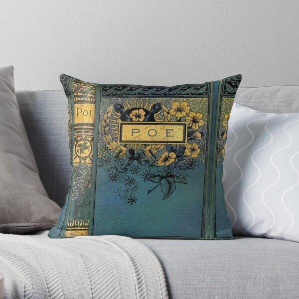 Edgar Allan Poe old Victorian book cover Throw Pillow