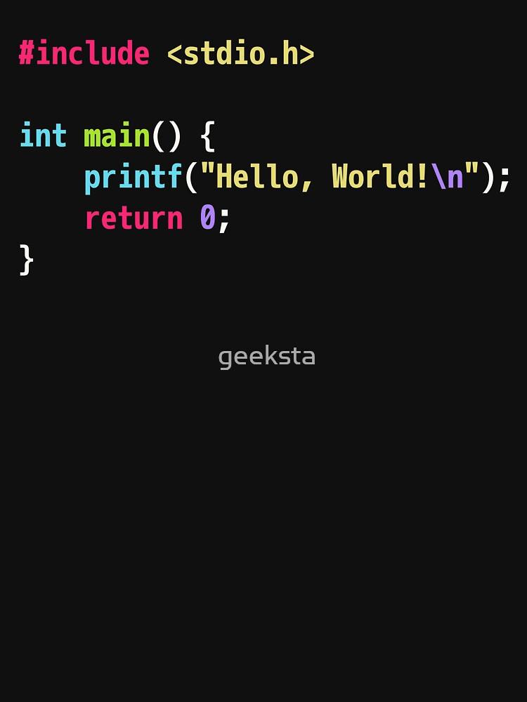 Hello World C Code - Dark Scheme Syntax Highlighting by geeksta
