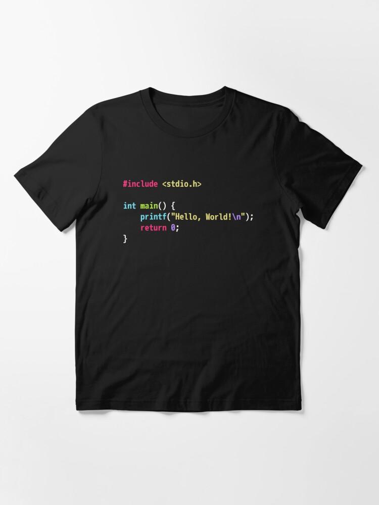 Alternate view of Hello World C Code - Dark Scheme Syntax Highlighting Essential T-Shirt