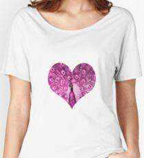 elbkatz` peacock heart pink Women's Relaxed Fit T-Shirt