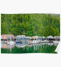 Stylized photo of the float plane dock in Pelican Harbor on the Lisianski Inlet on Chichagof Island, AK. Poster