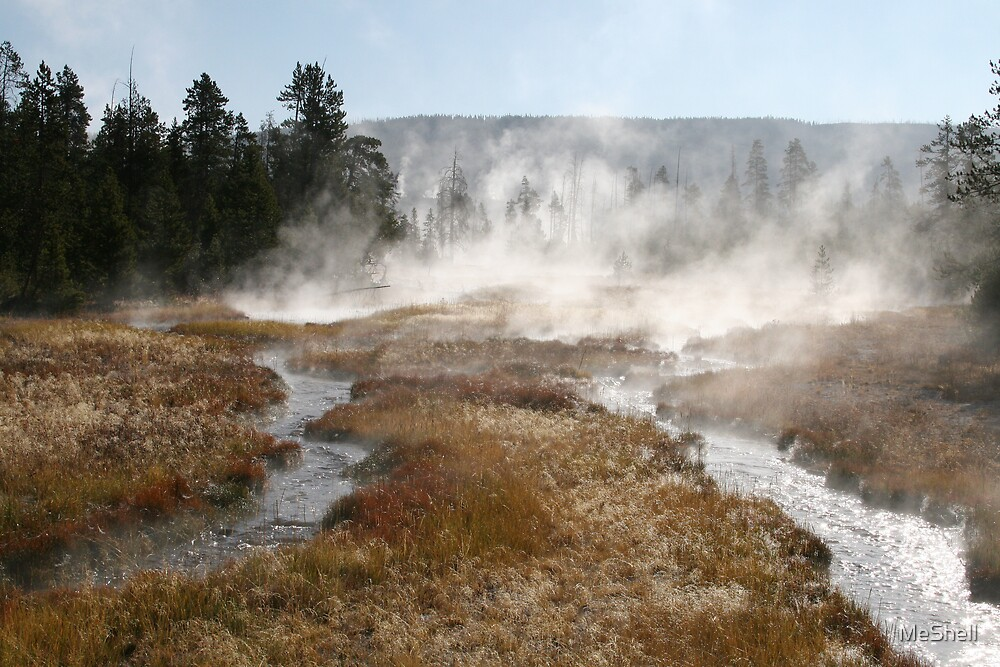 Yellowstone - Hot Springs at sunrise by MeShell