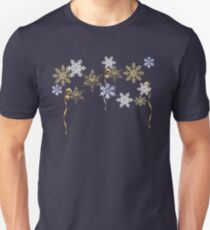 Winter Snowflakes and Golden Ribbon Unisex T-Shirt