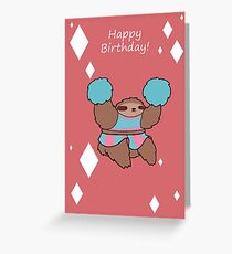 """Happy Birthday"" Cheerleader Sloth Greeting Card"