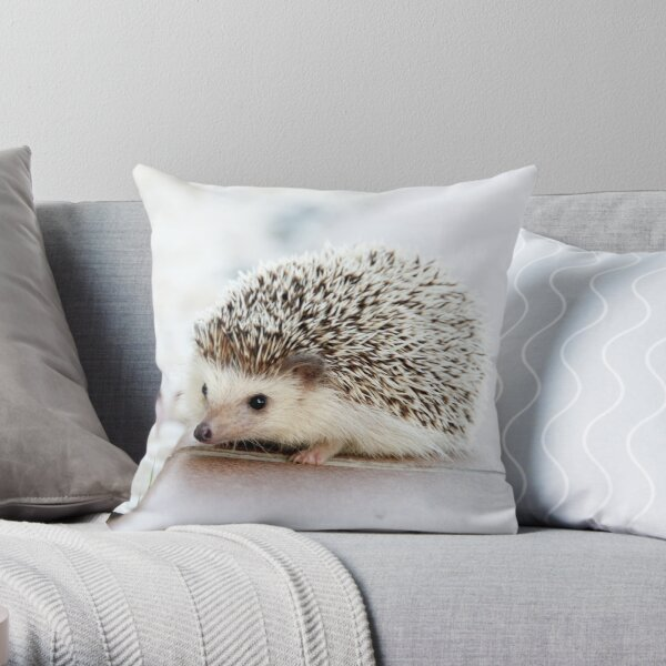 Cute hedgehog in white Throw Pillow