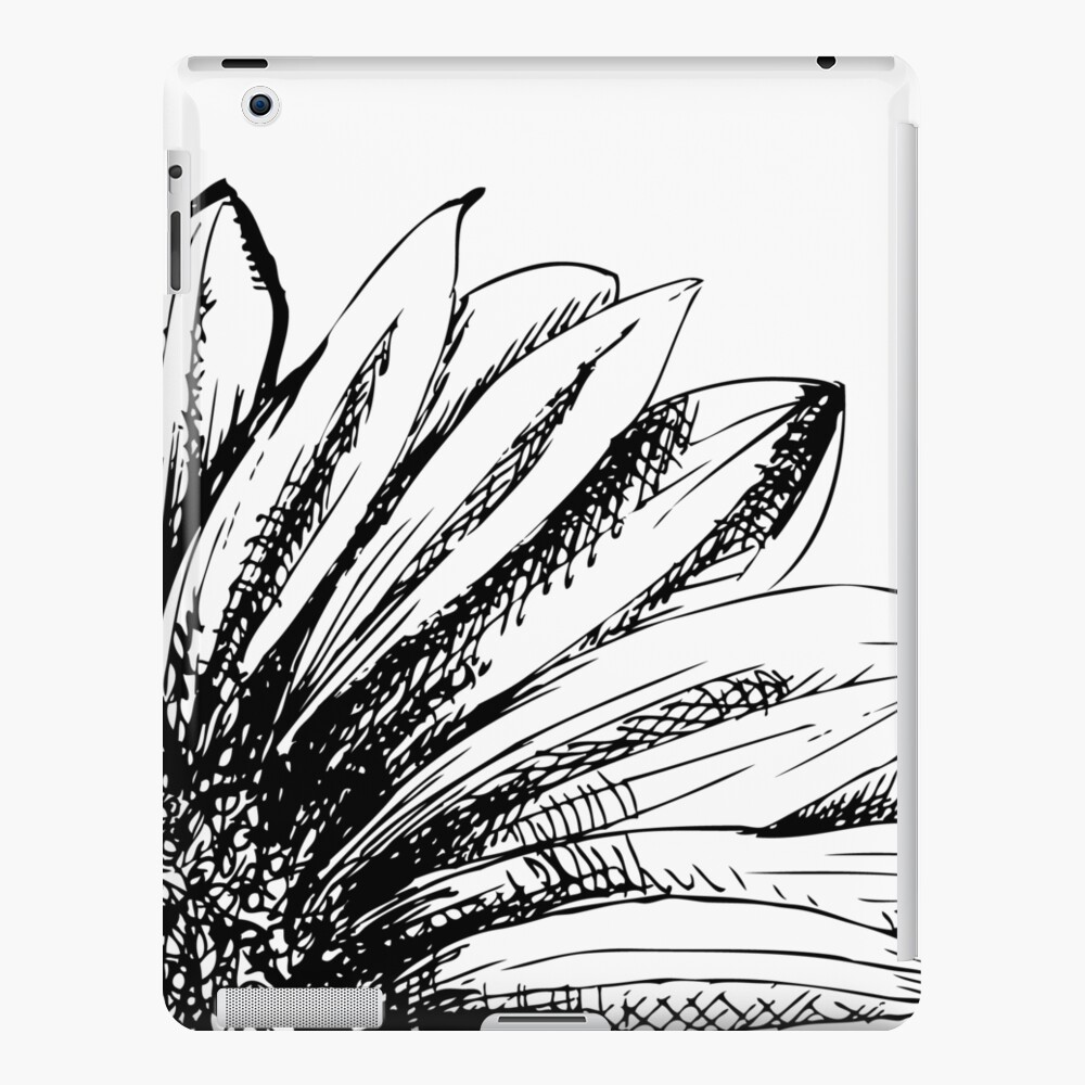 Artist sketch sunflower drawing in black and white ipad case skin