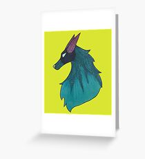 Blue Wolf Headshot Greeting Card