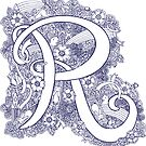 Letter R monogram inked drawing art by Sarah Trett