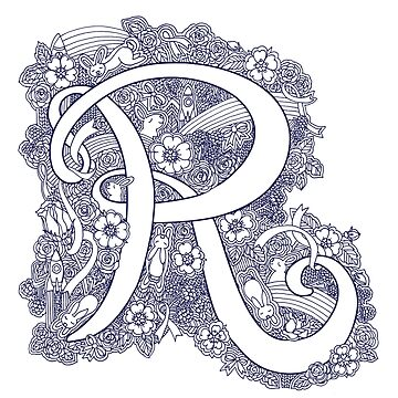 Letter R monogram inked drawing art by sarahtrett