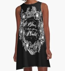 Bloom where you are planted, white on black A-Line Dress