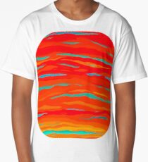 Red Ripped Sunset Sky Long T-Shirt