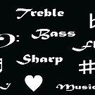 I ♥ Music (Style 2 White Writing) by C J Lewis