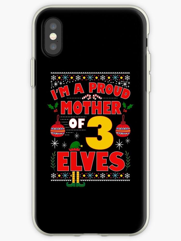 14221d4028 Vinilos y fundas para iPhone «Orgullosa madre de 3 elfos pijama de ...
