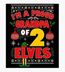 Proud Grandpa of Two Elves Nice Christmas Elf Pajamas Photographic Print