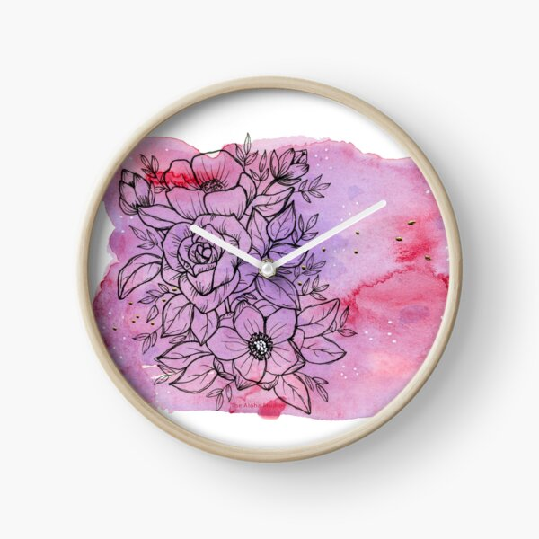 Aloha flower bouquet, pink and purple watercolors Clock